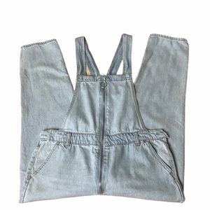 Forever 21 Light Wash Zip Up Front Overalls Sz 27